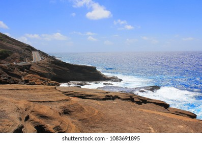 Lanai Lookout coastline in East Oahu, Hawaii.