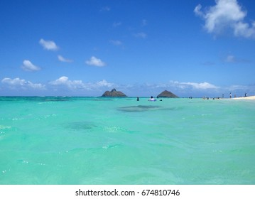 Lanakai Beach, Kailua, Oahu, Hawaii with the Na Mokulua twin islands in the near distance.