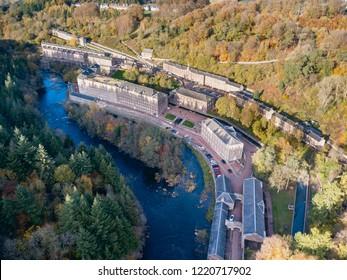 Lanark, New Lanark, Scotland, UK - 02.NOV.2018: Aerial view of New Lanark, a 19.c textile mill now UNESCO World Heritage Site
