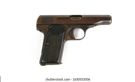 Lancashire, UK - 01.29.20 : FN Browning Model 1910 Automatic Pistol. Available in 7.65mm with a 7 round mag or 9mm 6 round mag. This was the model used to assassinate Archduke Franz Ferdinand in 1914