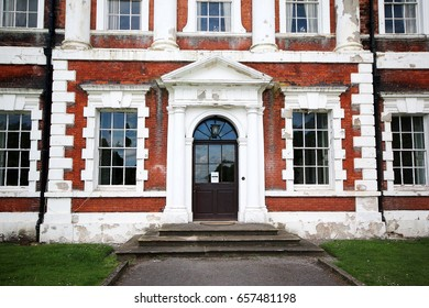 """LANCASHIRE, UK - JUNE 3, 2017: Entrance, Lytham Hall, Lancashire, UK. Lytham Hall is an 18th-century Georgian country house in Lytham, Lancashire, a mile from the town centre in wooded parkland"""""""