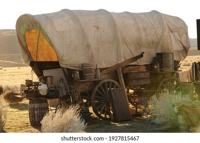 Lancaster, California, USA 1.19.2011:  A covered wagon on the plains of California.