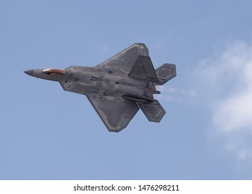 LANCASTER, CA/USA - MARCH 24, 2018: Lockheed Martin F-22 Raptor shown during a flight demo at the Los Angeles County Airshow.