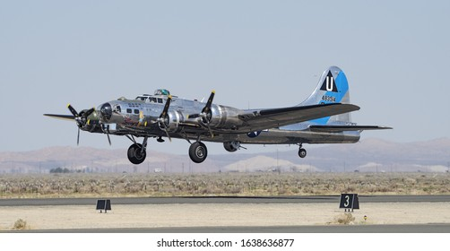 LANCASTER, CA/USA - MARCH 24, 2018: Boeing B-17 Flying Fortress 'Sentimental Journey' (registration N9323Z) shown landing.