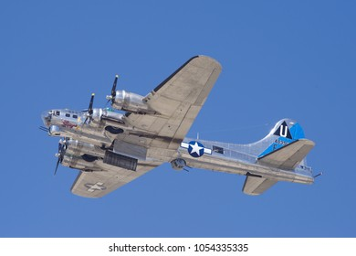 LANCASTER, CA/USA - MARCH 25, 2018: the beautiful Boeing B-17 Flying Fortress 'Sentimental Journey' (registration N9323Z) shown during a flyby.