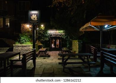 Lancaster, Lancashire - January 14th 2019: Entrance Of Merchants 1688 Pub In Evening