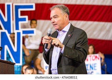 Lancaster, PA - August 30, 2016: Virginia Senator Tim Kaine, Democrat Party Vice President Candidate and Hillary Clinton running mate, speaks at a campaign rally.