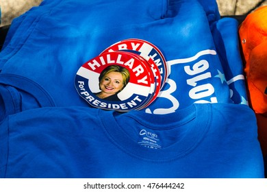 Lancaster, PA - August 30, 2016: Hillary Clinton 2016 stickers and tee shirts for sale at a rally for Virginia Senator Tim Kaine.