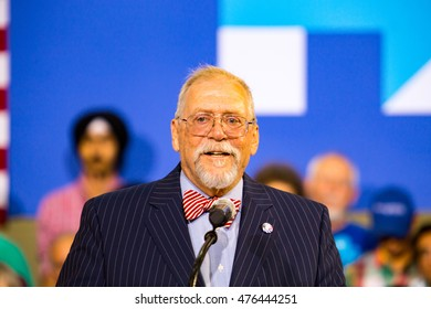 Lancaster, PA - August 30, 2016: Mayor Rick Gray speaks at a campaign rally for Virginia Senator Tim Kaine, Democrat Vice President Candidate.