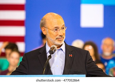 Lancaster, PA - August 30, 2016: Pennsylvania Governor Tom Wolf speaks at a campaign rally for Virginia Senator Tim Kaine, Democrat Vice President Candidate.