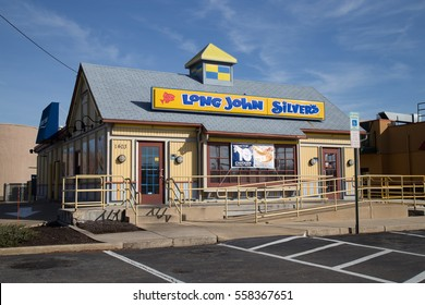 Lancaster, PA - January 15, 2017: Exterior of Long John Silvers Restaurant location. Long John Silvers is a chain restaurants that serves fast-food seafood at over 1000 locations.