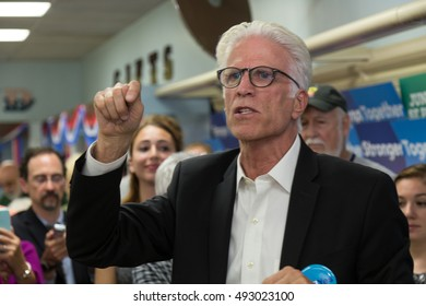Lancaster, PA - October 3, 2016: There were plenty of cheers for Actor Ted Danson as he helped open the new Lancaster campaign office for Hillary Clinton.
