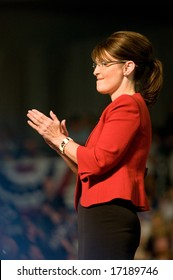 Lancaster, PA - Sarah Palin - Vice Presidential Hopeful, Governor Sarah Palin (R-AL), speaks to a crowd of thousands at a campaign rally for John McCain in Lancaster, PA. September 9, 2008