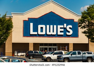 Lancaster, PA - September 7, 2016: A Lowes American Home Improvement and building supplies retailer store in Lancaster.