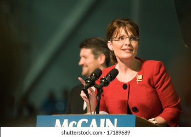 Lancaster, PA - SEPTEMBER 9: Sarah Palin - Vice Presidential Hopeful, Governor Sarah Palin (R-AL), speaks to a crowd of thousands at a campaign rally for John McCain in Lancaster, PA. September 9, 2008