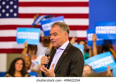 Lancaster, PA, USA - August 30, 2016: Virginia Senator Tim Kaine, Democrat Party Vice Presidential Candidate, speaks at a campaign rally.