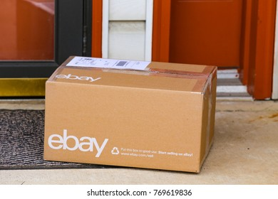 Lancaster, PA, USA - December 4, 2017: An ebay package delivered at a front residential door.