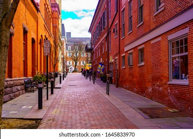 Lancaster, PA / USA - February 14, 2020: The alley near Penn Square in the downtown area where the city's Central Market is located.
