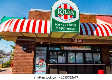 Lancaster, PA, USA - February 19, 2017:  Rita's Italian Ice is a chain with over 600 locations, based in Trevose, PA, which sells water ice and frozen custard.