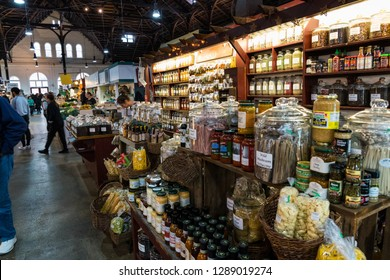 Lancaster, PA, USA - January 18, 2019:Established in 1730, Central Market is a local farmer's market in downtown Lancaster City offering shoppers a variety of fresh food.