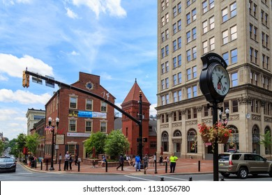 Lancaster, PA, USA - June 25, 2018: Penn Square in the downtown area of the city.
