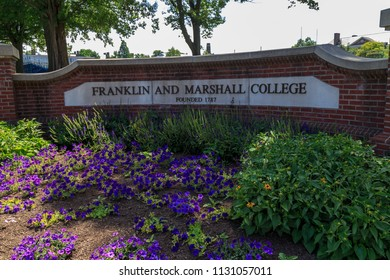 Lancaster, PA, USA - June 25, 2018: The Franklin and Marshall College sign at the school campus in a Lancaster City.