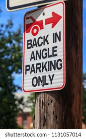 Lancaster, PA, USA - June 25, 2018: Back-in Parking Sign in a Lancaster City.