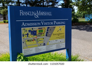 Lancaster, PA, USA - June 25, 2018: The Admissions Office sign at the Franklin and Marshall College campus in a Lancaster City.