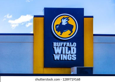 Lancaster, PA, USA - March 5, 2018: Buffalo Wild Wings is an American casual dining restaurant and sports bar franchise with over 1,200 locations.
