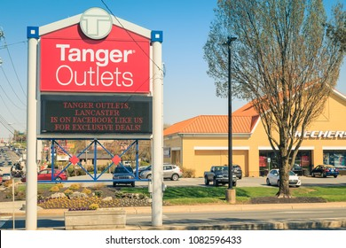 Lancaster, PA, USA - May 1, 2018:  Tanger Outlets is a shopping-mall chain featuring a variety of brand-name and designer outlet stores with 44 outlet centers in 22 states.
