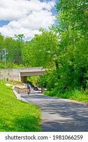 Lancaster, Pa. USA May 17, 2021 Bicycling along the Conestoga Greenway Trail in Lancaster, Pa.