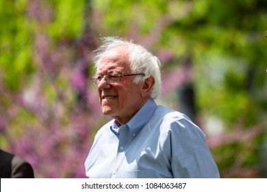"Lancaster, PA, USA - May 5, 2018: US Senator Bernard ""Bernie"" Sanders from Vermont makes an appearance to campaign for Jess King, Democrat congressional candidate."