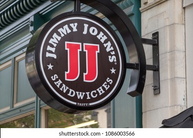 Lancaster, PA, USA - May 5, 2018: Exterior sign of Jimmy John's, a chain of franchised sandwich restaurants, specializing in delivery in over 2500 locations.