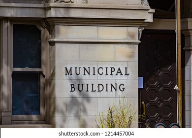 Lancaster, PA, USA - May 5, 2018: The Lancaster City Municipal Building  Sign at the City Hall in Lancaster, Pennsylvania.