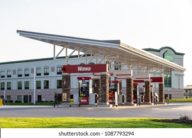 Lancaster, PA, USA - May 8, 2018: Fuel pumps at WaWa, a chain of fast food, gas, and convenience stores, which has over 750 locations.