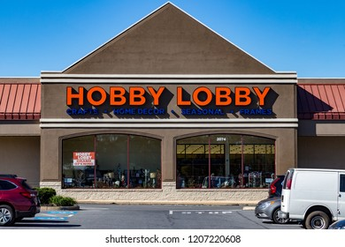 Lancaster, PA, USA - October 18, 2018: Hobby Lobby Stores is a private for-profit corporation that owns and operates a chain of American arts and crafts stores in over 800 locations.