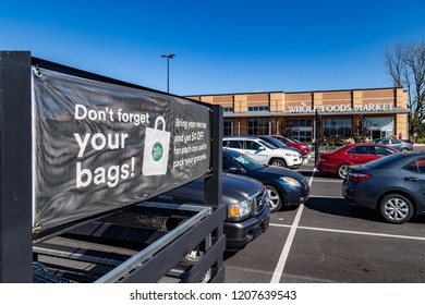 Lancaster, PA, USA - October 18, 2018:  Whole Foods Market Inc. is an American supermarket chain that specializes in selling organic products at over 475 stores.