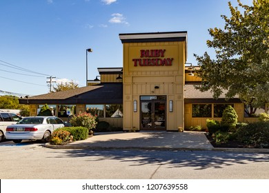 Lancaster, PA, USA - October 18, 2018:  Ruby Tuesday is a multinational food service retailer that owns, operates, and franchises Ruby Tuesday restaurants in more than 700 locations.