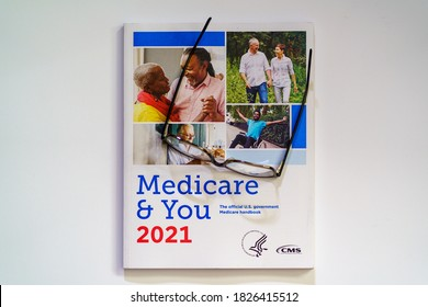 Lancaster, PA, USA - October 3, 2020:  The 2021 Medicare & You Annual Guidebook for Medicare recipients.