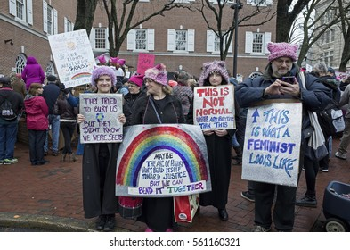 LANCASTER, PA, USA-JANUARY 21, 2017: Peaceful demonstration at Womenâ??s March. People rally for women and against Donald Trump.