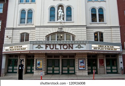 LANCASTER, PA-DECEMBER 4:  The marquee shines on the Fulton Opera House on December 4, 2012 in Lancaster, PA.   The Fulton is said to be the nations oldest, continuously operated theatre in the US.