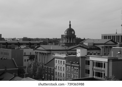 Lancaster Pennsylvania downtown with courthouse shot in black and white from high vantage point