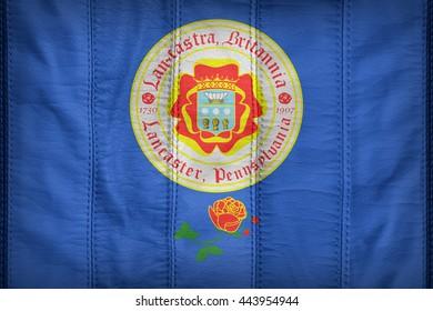 Lancaster, Pennsylvania flag pattern on synthetic leather texture, 3d illustration style