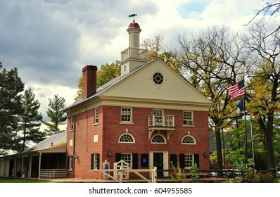 Lancaster, Pennsylvania - October 14, 2015:  Colonial style brick and wooden Visitor Center with cupola at the Landis Valley Village and Farm Museum