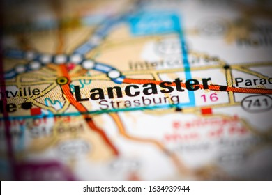 Lancaster. Pennsylvania. USA on a geography map