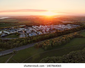 Lancaster University aerial sunset nature wind turbine lancashire