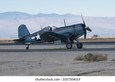 Lancaster, USA - March 24, 2018: Vought F4U-1A Corsair on display during Los Angeles County Air Show at William J. Fox Airfield.