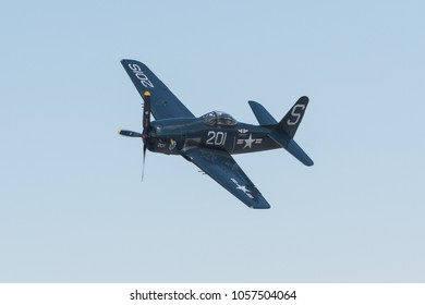 Lancaster, USA - March 24, 2018: Grumman F8F Bearcat on display during Los Angeles County Air Show at William J. Fox Airfield.