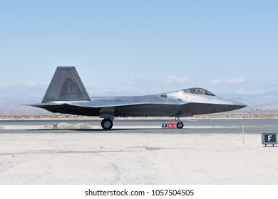 Lancaster, USA - March 24, 2018: USAF Lockheed Martin F-22 Raptor on display during Los Angeles County Air Show at William J. Fox Airfield.