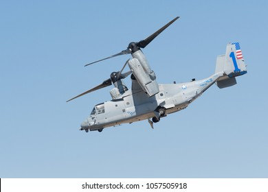 Lancaster, USA - March 24, 2018: U.S. Marines MV-22 Osprey Aircraft on display during Los Angeles County Air Show at William J. Fox Airfield.